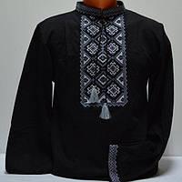 Трикотажная футболка вышиванка для мужчин черная