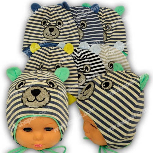 Детские шапки из трикотажа для мальчика на завязках, M01
