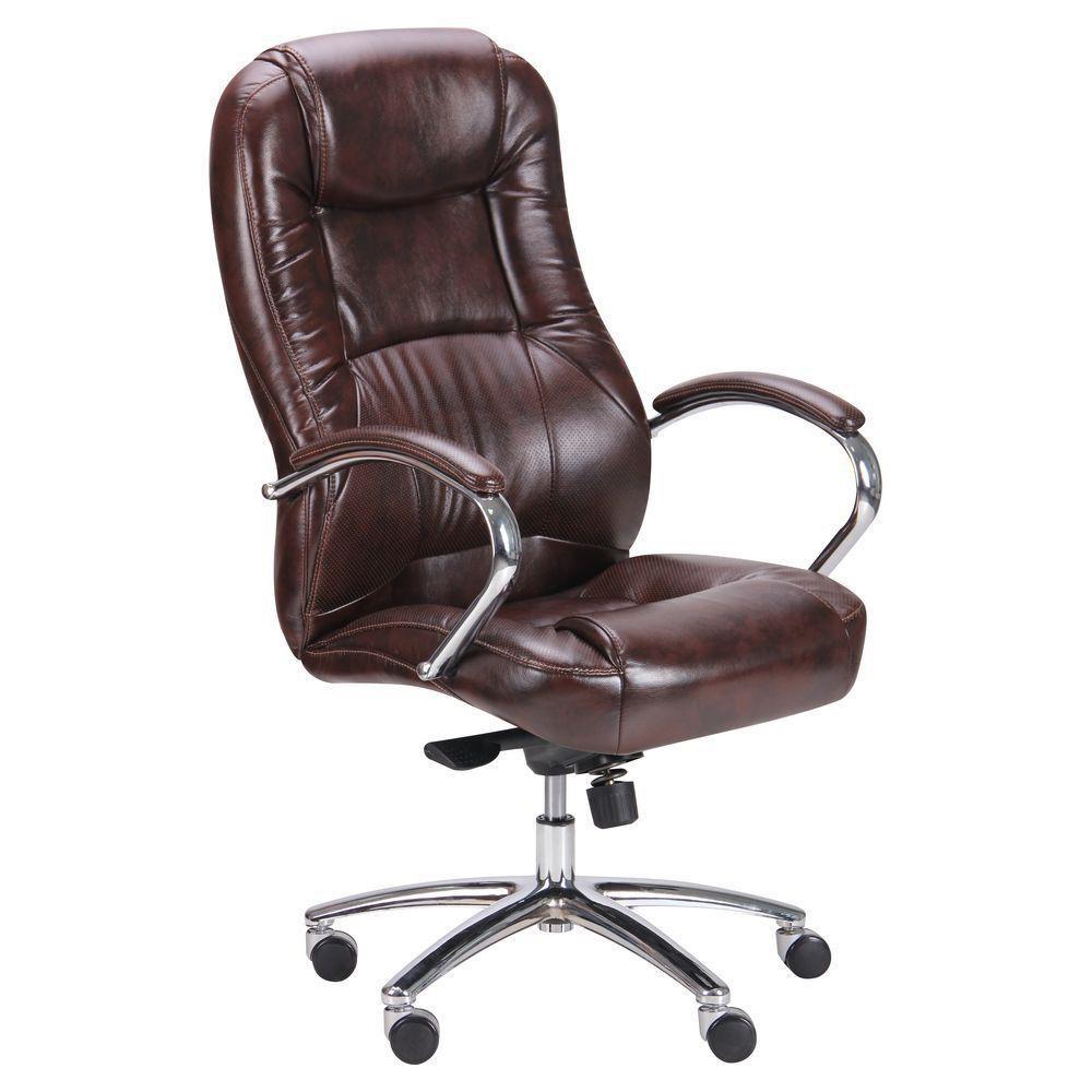 Кресло Мустанг Хром MB Мадрас дк браун, вставка Мадрас дк браун перфорированный (AMF-ТМ)