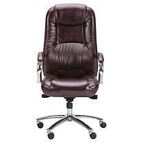 Кресло Мустанг Хром MB Мадрас дк браун, вставка Мадрас дк браун перфорированный (AMF-ТМ), фото 2