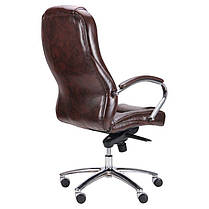 Кресло Мустанг Хром MB Мадрас дк браун, вставка Мадрас дк браун перфорированный (AMF-ТМ), фото 3