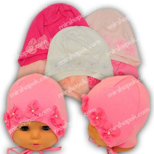 Детские шапки из трикотажа для девочки на завязках, M02