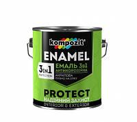 Эмаль грунт антикоррозионная 3в1 PROTECT Kompozit  3 в 1 серебристый 0,65кг