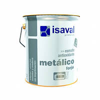Эмаль противокоррозионная 3 в 1 эффектом кованого железа серебристая ISAVAL Forja 4 л