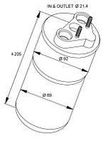 Осушитель кондиционера (вп/вып 21.4mm) на Renault Trafic  2006->  2.0dCi + 2.5dCi —  NRF(Голандия) - NRF 33317