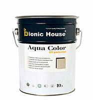 Солнцезащитная краска лазурь для дерева  BIONIC HOUSE Aqua Color UF protect 10 л Миндаль
