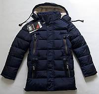 Удлиненная зимняя куртка на мальчика 8 - 14 лет