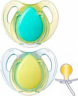 Латексные пустышки бирюзовая и желтая, форма вишенка, 0-6 месяцев, 2 штуки, Tommee Tippee (43323640-2)