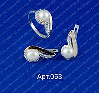 Женский серебряный гарнитур арт.053 с напайками золота 375 и жемчугом