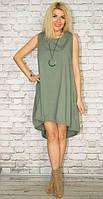 Платье женское короткое из шелка без рукавов P7039