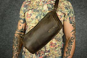 Мужская повседневная сумка-бананка |10160| Шоколад