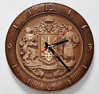 Деревянные часы резные Герб Украины №2