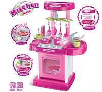 Игровой набор Кухня в чемодане 008-58 розовая Свет Звук