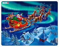 Пазл рамка-вкладыш Санта Клаус в северном сиянии, серия Макси, Larsen (XM1)