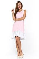 Летнее платье с воланом из вискозы Арко розовое