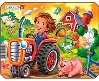 Пазл рамка-вкладыш Тракторист, серия Мини, Larsen, Тракторист (Z11 (1-4)-2)