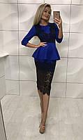 Платье женское с баской БЕЛ368