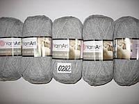 Пряжа для ручного вязания Yarnart Merino De Luxe 50(мерино де люкс 50)нитки зимняя пряжа 0282 серый