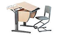 Растущая стол-парта СУТ.14-01 с ортопедическим стулом, цвет серый/синий