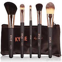 Набор кистей для макияжа KYLIE 5 шт. + чехол, фото 1