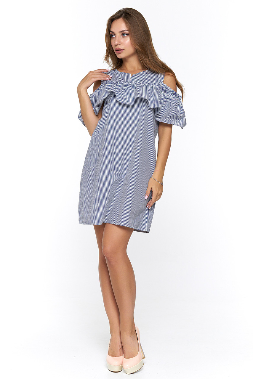 ed5b2cf7e61 Платье с воланами на рукавах Асти мелкая полоска - DS Moda - женская одежда  оптом от