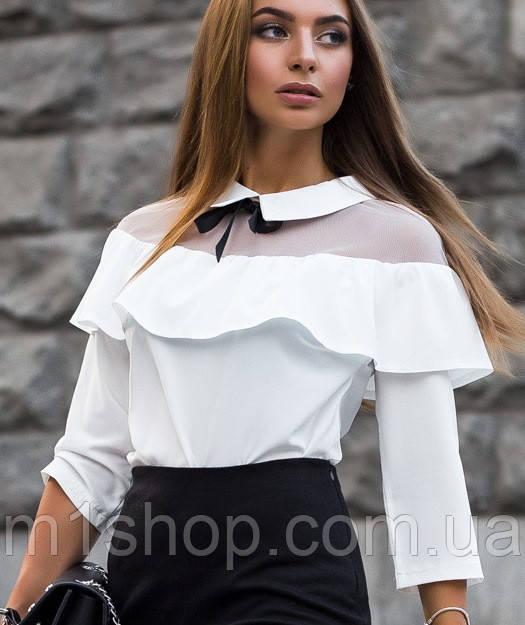 Женская блузка с сеткой на плечах(1870/istie)