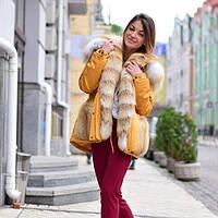 Парка с мехом лисы, верх плотный джинс, утеплитель испанский кролик