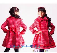 """Пальто детское """"Панда - горох""""для девочки,кашемир,S-Style"""