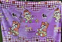 Плед детский мягкий двухсторонний (микрофибра утепленная) 140х110 см, Мишки с обезьянками фиолетовый, фото 1