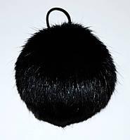 Меховой помпон Кролик черный 9 см.