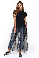 Черная женская футболка с юбкой-сетка Генуя
