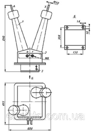 Габаритные размеры трансформаторов напряжения однофазных масляных НОМ