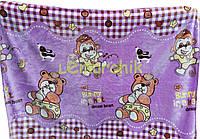 Плед двухсторонний детский мягкий (микрофибра утепленная) 140х110 см, Мишки и обезьянки фиолетовый