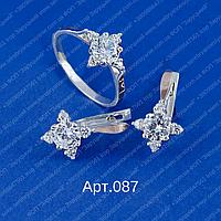 Женский серебряный гарнитур арт.087 с напайками золота 375 и фианитами разных цветов