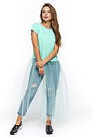 Мятная женская футболка с юбкой-сетка Генуя