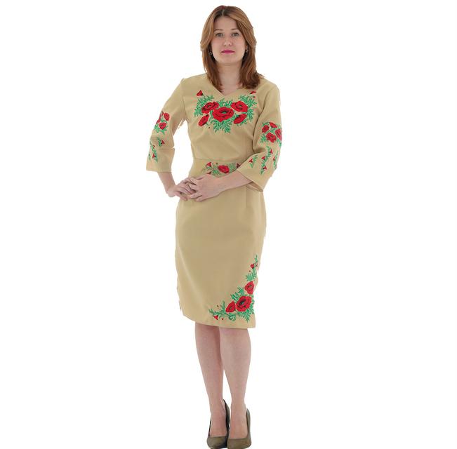 """Платье женское """"Маковая роса"""" бежевое"""