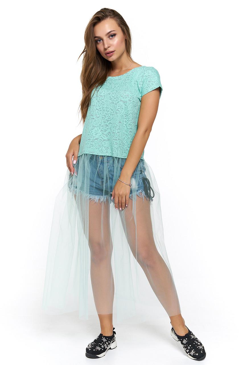 fa74fb7af2f Мятная футболка с фатином и гипюром Генуя - DS Moda - женская одежда оптом  от производителя