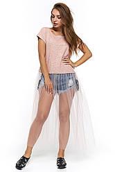 Женская футболка с юбкой-сетка Генуя пудра с рисунком