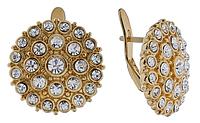"""Серьги """"Саяны"""" с кристаллами Swarovski, покрытые золотом (е639р100)"""