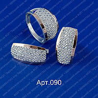 Женский серебряный гарнитур арт.090 с напайками золота 375 и белыми фианитами