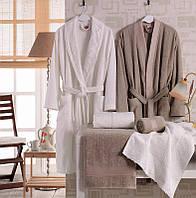 Мужской махровый халат с полотенцами Volenka: халат + 2 полотенца