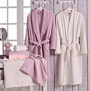 Сімейний махровий комплект халатів Volenka: 2 халата + 4 рушники