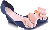 Женские балетки  синего цвета с бантиком,резиновые