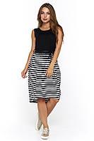 Летнее стильное платье в полоску Велес черное