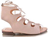 Замшевые женские босоножки на шнуровке