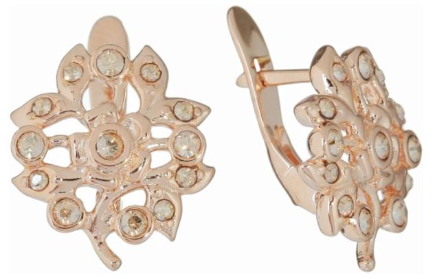"""Серьги """"Эскарен"""" с кристаллами Swarovski, покрытые золотом (j549p120)"""