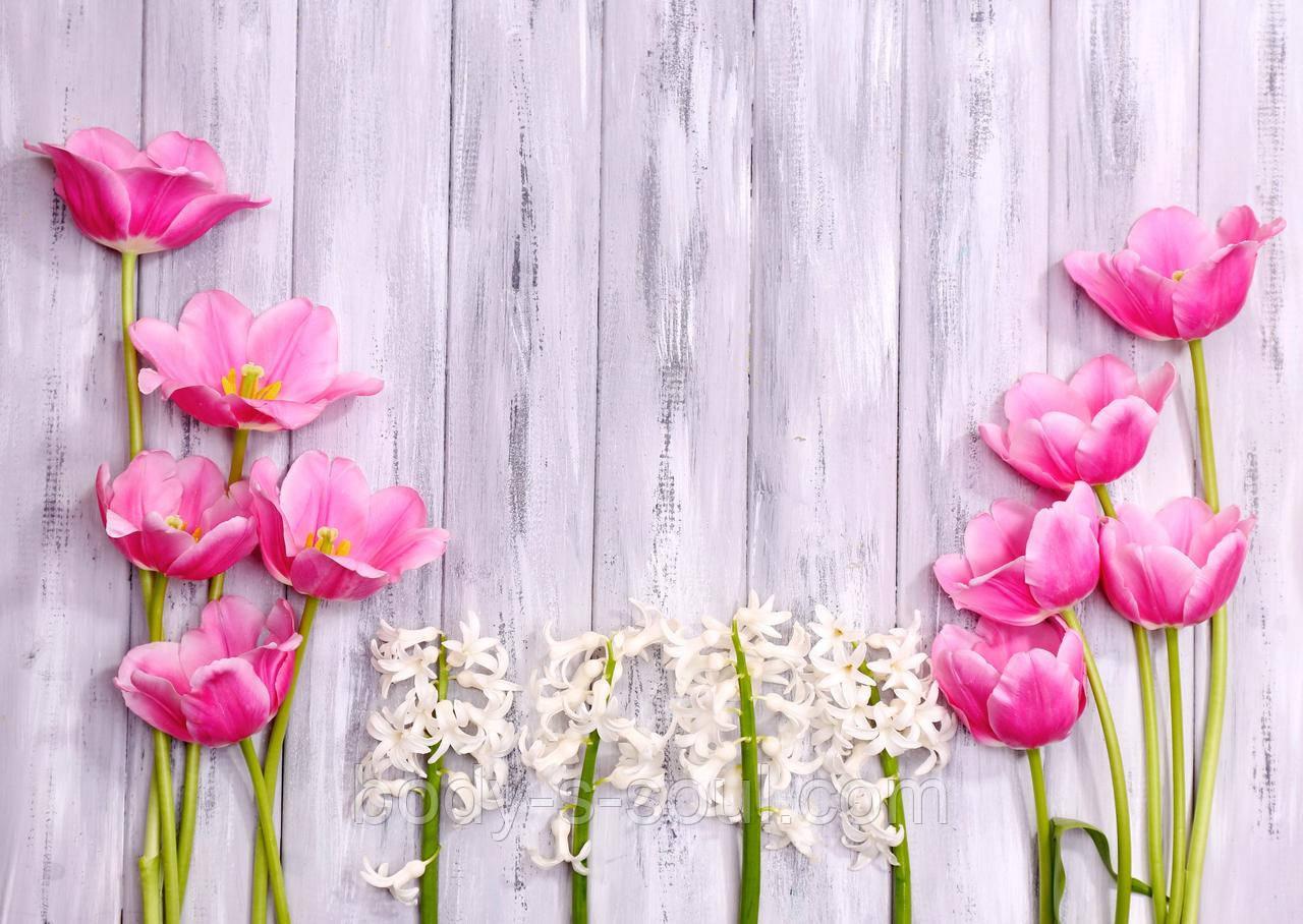 Фотофон виниловый, белая доска с цветами
