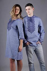 Вышиванка для мужчины лён и вышитая туника для девушки, в синем цвете