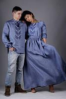 Вышитый набор для пары. Рубашка вышитая, платье в пол льняное. Цену уточнять