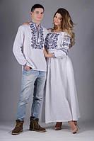 Вышитая одежда. Вышиванка на белом мужская, этническое платье в пол женское узор в синем цвете. Цену уточнять.